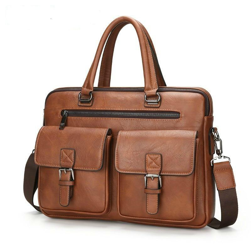 Fashion Men Briefcases Leather Handbag Men's Business Messenger Bag Two Pocket Soft Handle Laptop Bags Bolso Bandolera Hombre