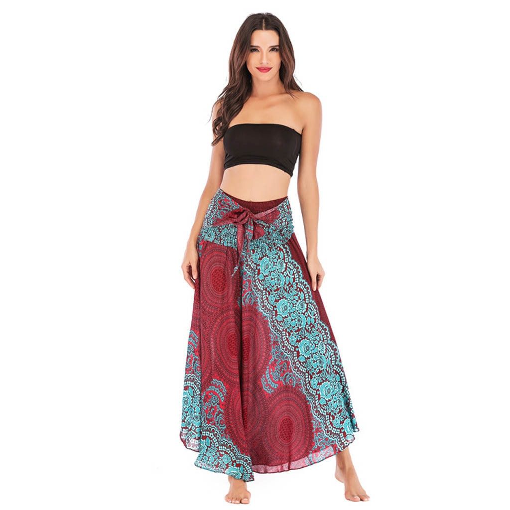 Falda de estilo étnico para la playa de las mujeres Falda larga del oscilación de dos desgaste Hippie Bohemia flor cintura elástica 02 *