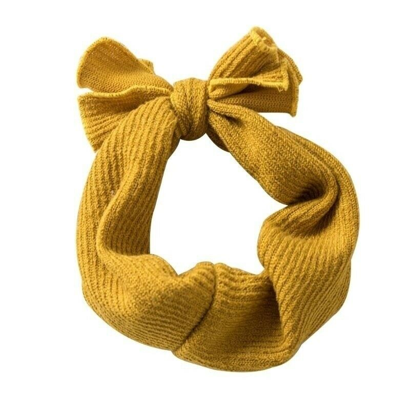 Baby Headwear Accessories Baby Girls Bunny Kids Solid Turban Knot Bow Hair Bands Head Wrap Rabbit Knitted Headband Infant Gift
