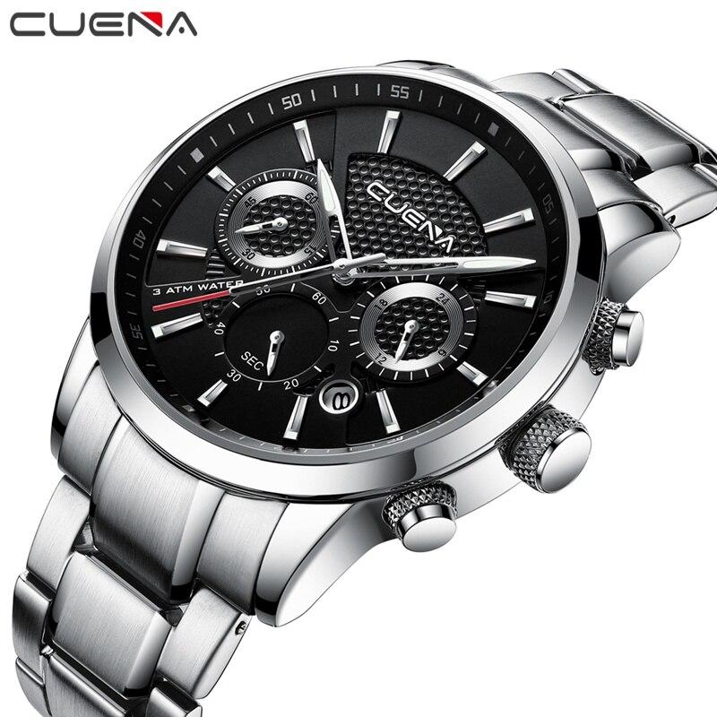 Cuena esporte relógios de quartzo men chronograph luminoso aço inoxidável 30m à prova dwaterproof água moda luxo prata masculino relógios relojes