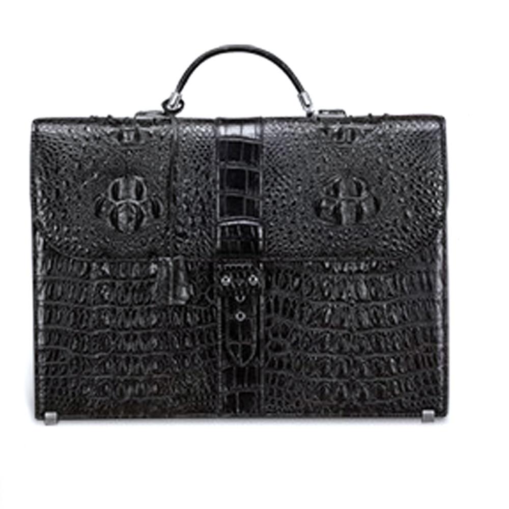 lukani nile crocodile leather m business  men briefcase male handbag  fashion  leisure  true  crocodile bag