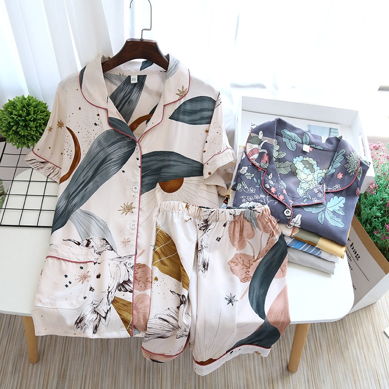 JULY'S SONG Viscose Women Pajamas Casual Turn-down Collar Short Sleeve Sleepwear Printed Summer Pyjama Shorts Female Homewear
