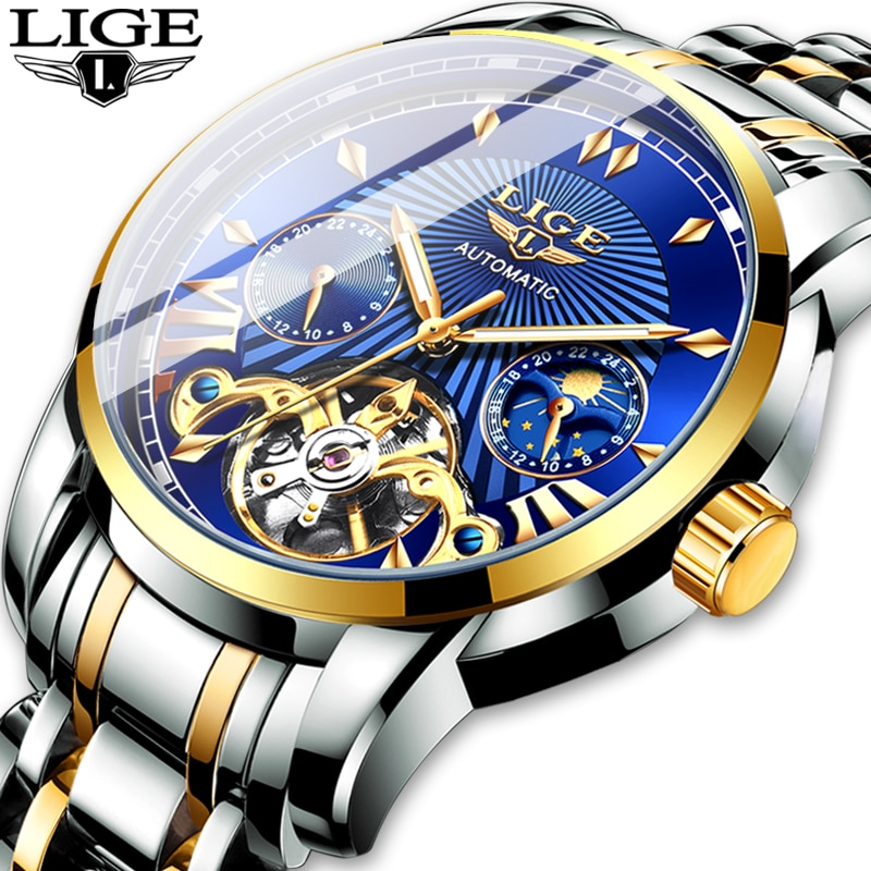 2020 LIGE Men Watch Tourbillon Automatic Mechanical Watch Top Brand Luxury Stainless Steel Sports Watches Mens Relogio Masculino aesop 100% real tourbillon automatic mechanical watch men wrist mens watches top brand luxury skeleton clock relogio masculino