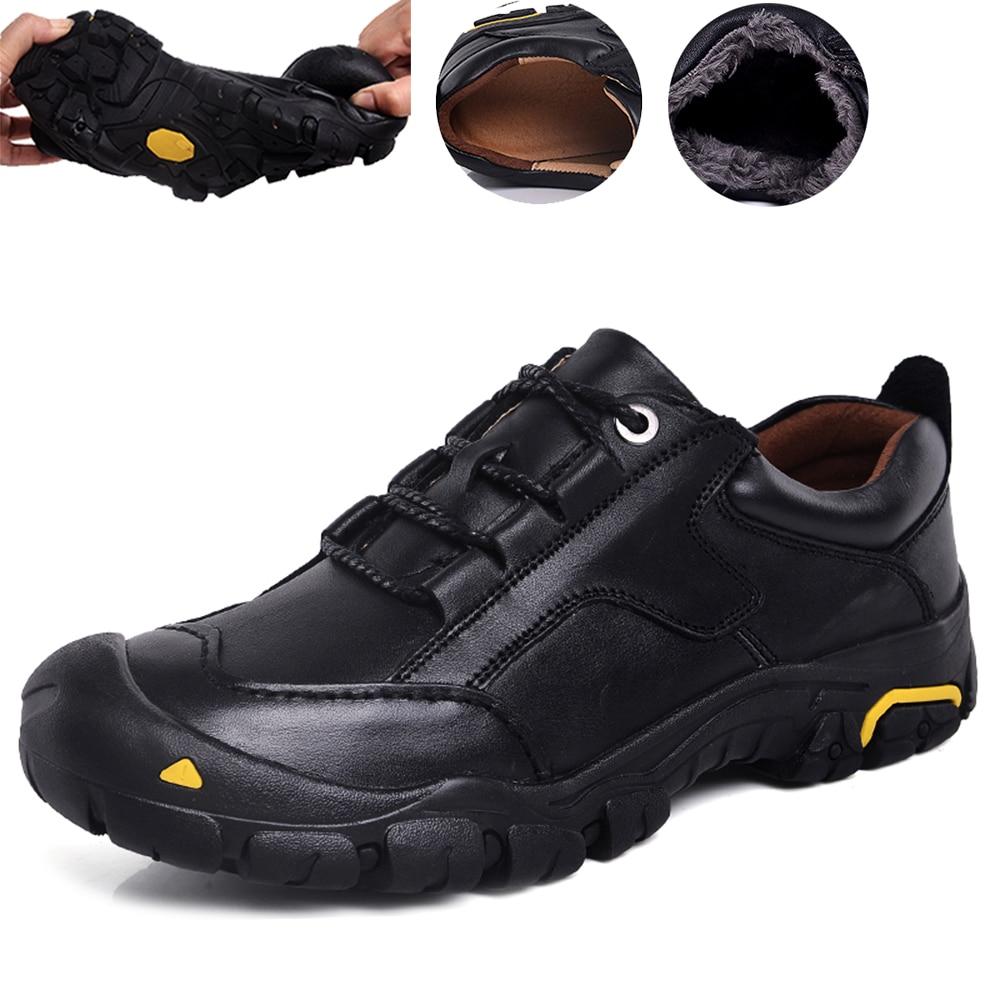 Zapatos de senderismo de cuero genuino para hombre, zapatillas de escalada de montaña para invierno, zapatos de caza para senderismo que mantienen el calor, zapatos impermeables de talla grande 50