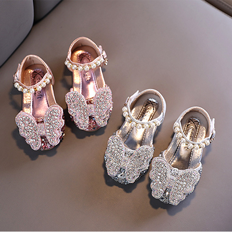 2021 Girls Sandals Rhinestone Butterfly pink Latin dance shoes 5-13y old 6 children 7 summer high He