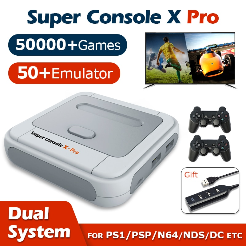 Retro Video Game Consoles Super Console X Pro Wifi 4K HD for PSP/PS1/N64/DC Mini TV Game Players With 50000+ Games 50+ Emulator
