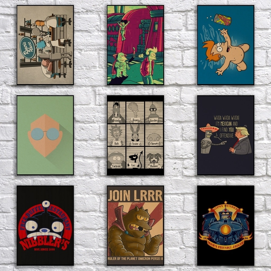 Американский комикс Futurama плакат из крафт-бумаги мультфильм живопись забавные художественные настенные Стикеры для кофейного бара
