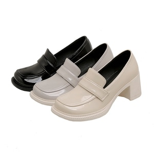 High Quality New Black High Heels Women Shoes High Heels Fashion Patent Leather Shoes White Female Round Head Mary Jane Shoes
