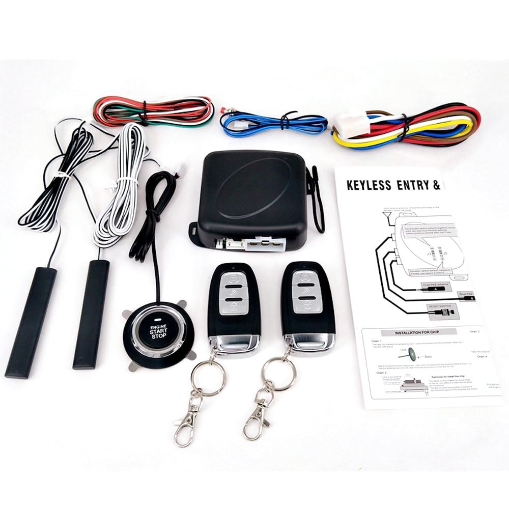 Universal 9 Uds coche SUV interruptor de entrada sin llave sistema de alarma de arranque del motor pulsador de arranque remoto detener el sistema antirrobo automático