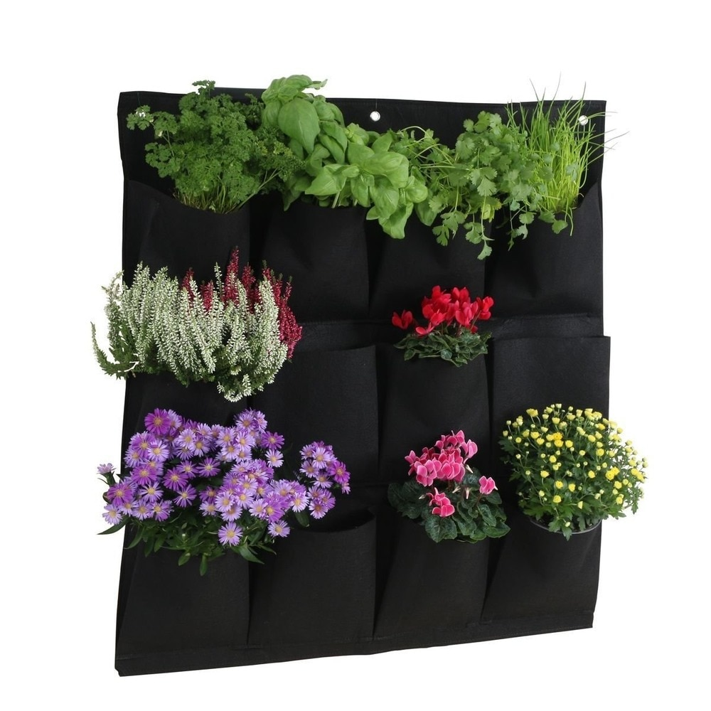 5 unids/lote colgante de pared plantar bolsas 12 bolsillos verde bolsa de crecer jardín vertical macetero vegetales vida jardín bolsa a casa suministros