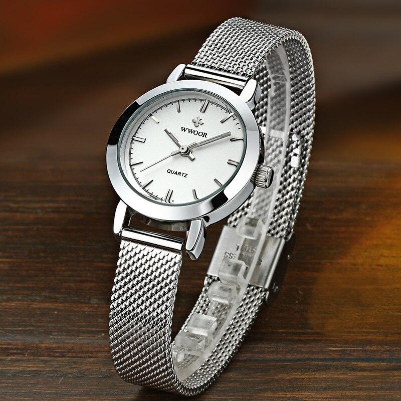 WWOOR Luxury Women Watches Fashion Simple Mesh belt White Small Dial Quartz Clock Ladies Bracelet Wristwatches Women Reloj Mujer enlarge