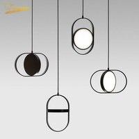 Nordic Simple Iron Pendant Lights Modern Round Rotating LED Hanging Lamp Bedroom Living Room Restaurant Home Decor Light Fixture