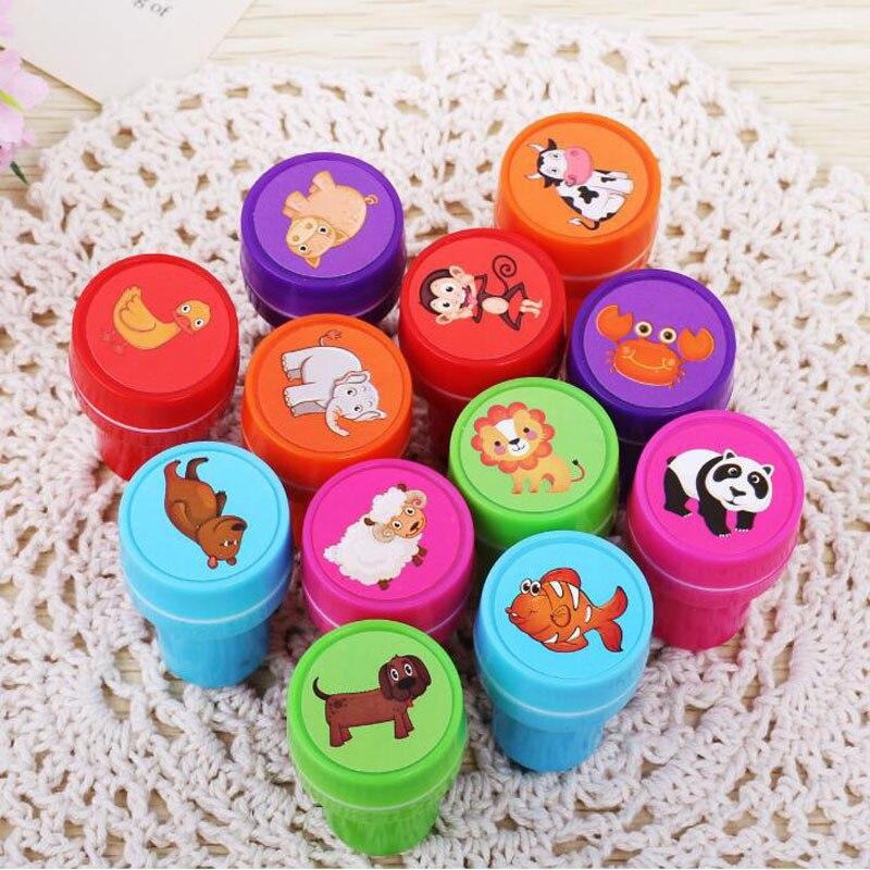 6 unids/set sellos de juguete para niños dibujos animados serie de animales lindos niños sello para Scrapbooking Stamper DIY Cartoon Party Stamper Kawaii Juguetes