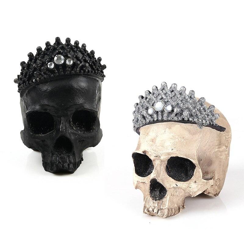 HeyMamba, estatua de cráneo de Demonio Negro con corona, resina de fantasma, artesanía humana, escultura de cráneo, barra de decoración de ventanas para el hogar