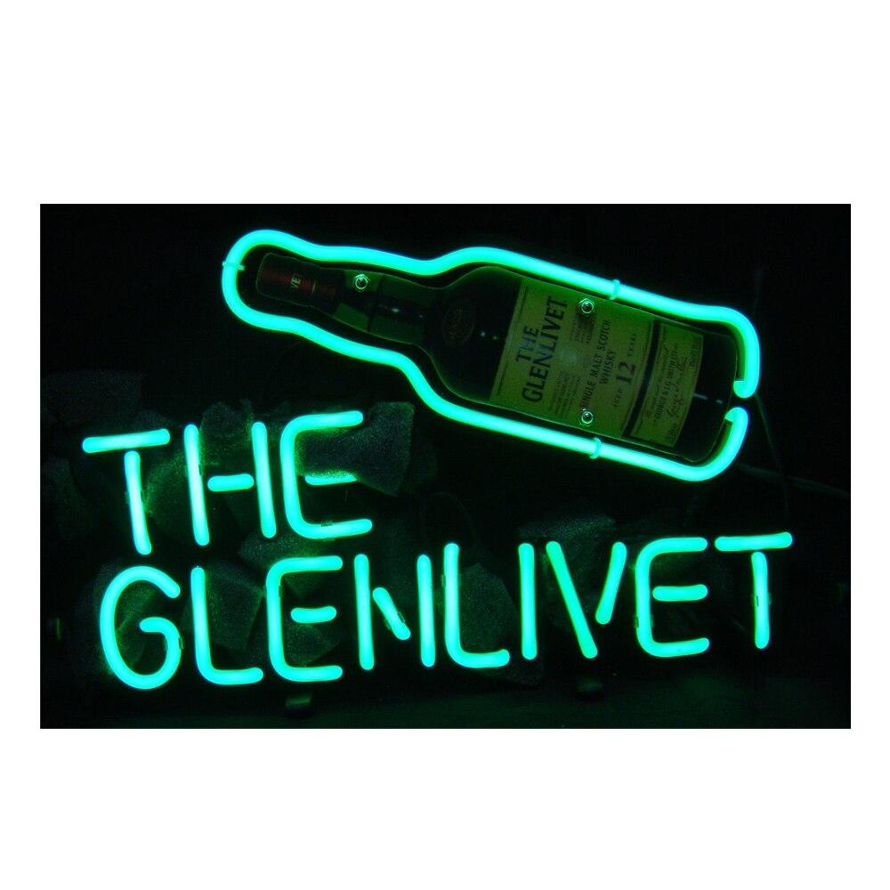 غلينليفيت تقطير البيرة زجاجة مطبوعة مخصصة اليدوية أنبوب زجاجي حقيقي بار مخزن الديكور هدية عرض النيون تسجيل 17