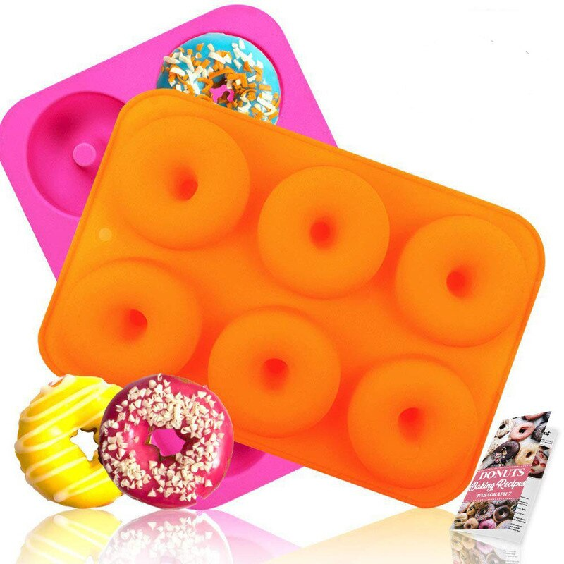 Molde de Donut de silicona de 6 cavidades para hornear molde de Donut DIY pastel de Donut moldes para hornear bollos de decoración de Chocolate herramienta de pastelería