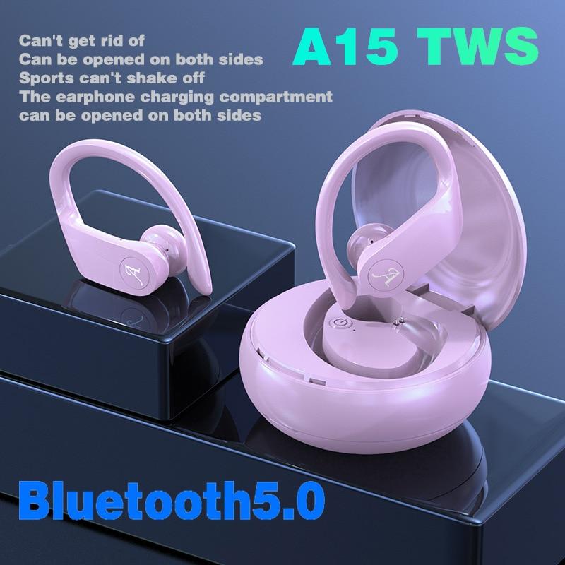 A15 TWS auriculares de música Bluetooth 5,0 auriculares deportivos resistentes al agua funcionan en todos los auriculares inalámbricos para smartphone Android iOS