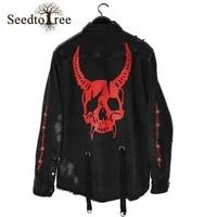spring and autumn mens denim jacket loose large size skull print multi pocket jacket men