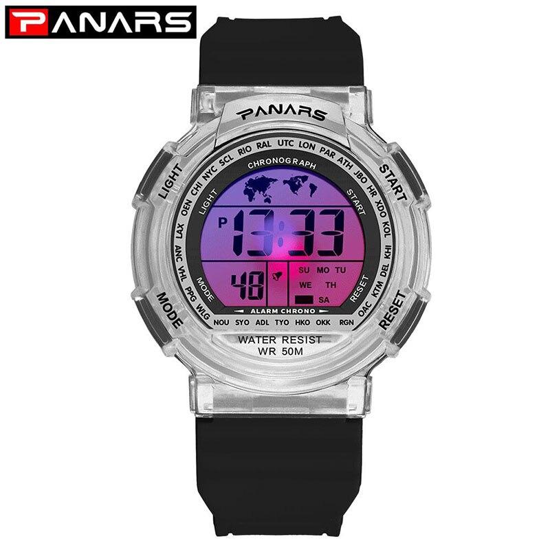 Outdoor Chidren Watches For Boys Girls PANARS Multifunction Rubber Sports Electronic Wrist Watch Kids LED Date Digital Clock