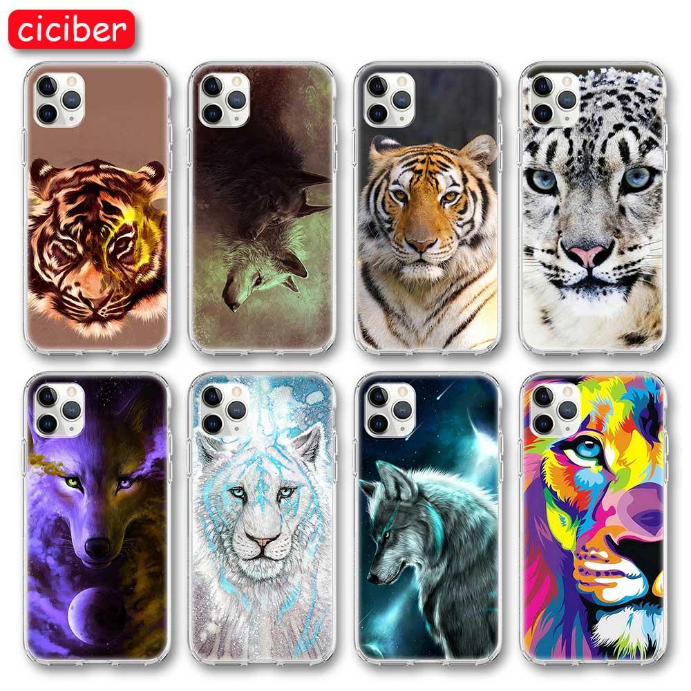 Animal tigre leão raposa caso de telefone para iphone 11 pro max capa para iphone x xr xs max 7 8 6s mais se 2020 silicone macio tpu coque