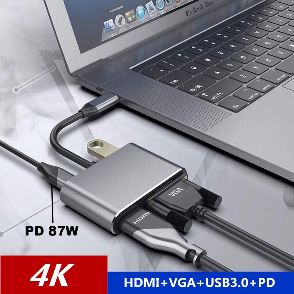 4 en 1 USB-C tipo C a 4K HDMI VGA USB3.0 de Audio y de vídeo adaptador con PD 60W cargador rápido para Macbook pro Samsung s9 s10 Huawei