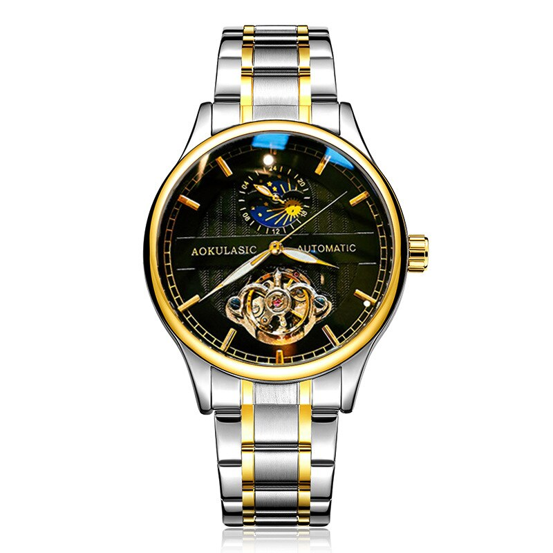 Luminous Waterproof Metal Strap Tourbillon Men's Mechanical Watch Relojes Para Mujer Watch Hollow Fashion Business enlarge
