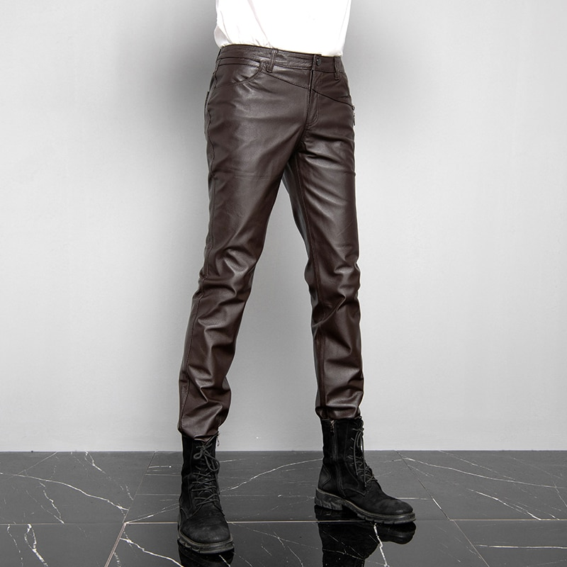 Genuine Leather Pants 2021 Men's Pigskin Leather Slim Autumn Winter Fashion Trend Motorcycle Windproof Warm Leather Pants