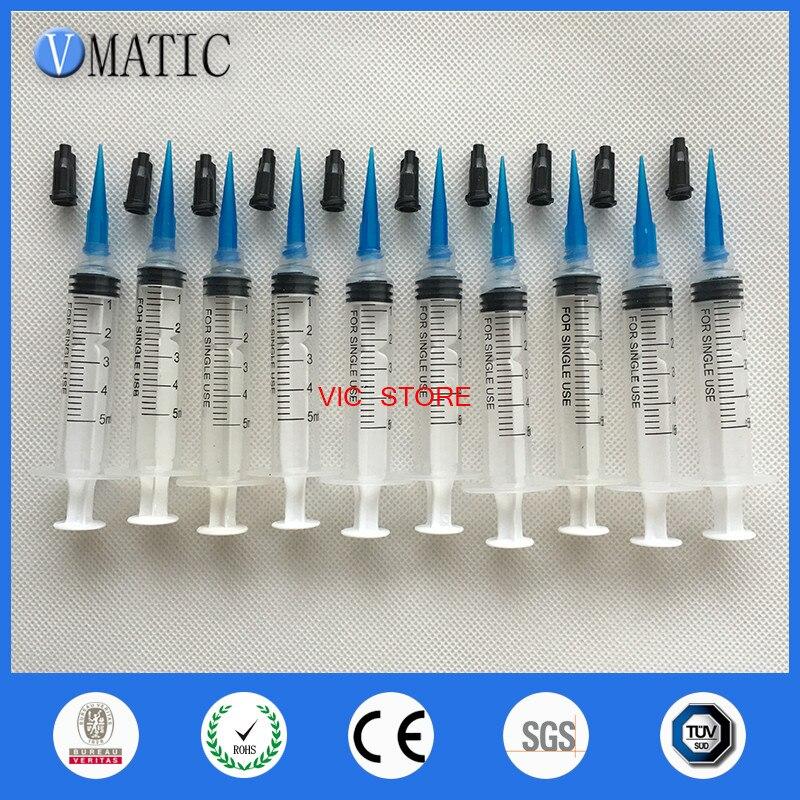 Envío Gratis seguro comercial no esterilizado 10 Uds jeringas 5 ml/cc con aguja de plástico 22G & Tapas/tapón