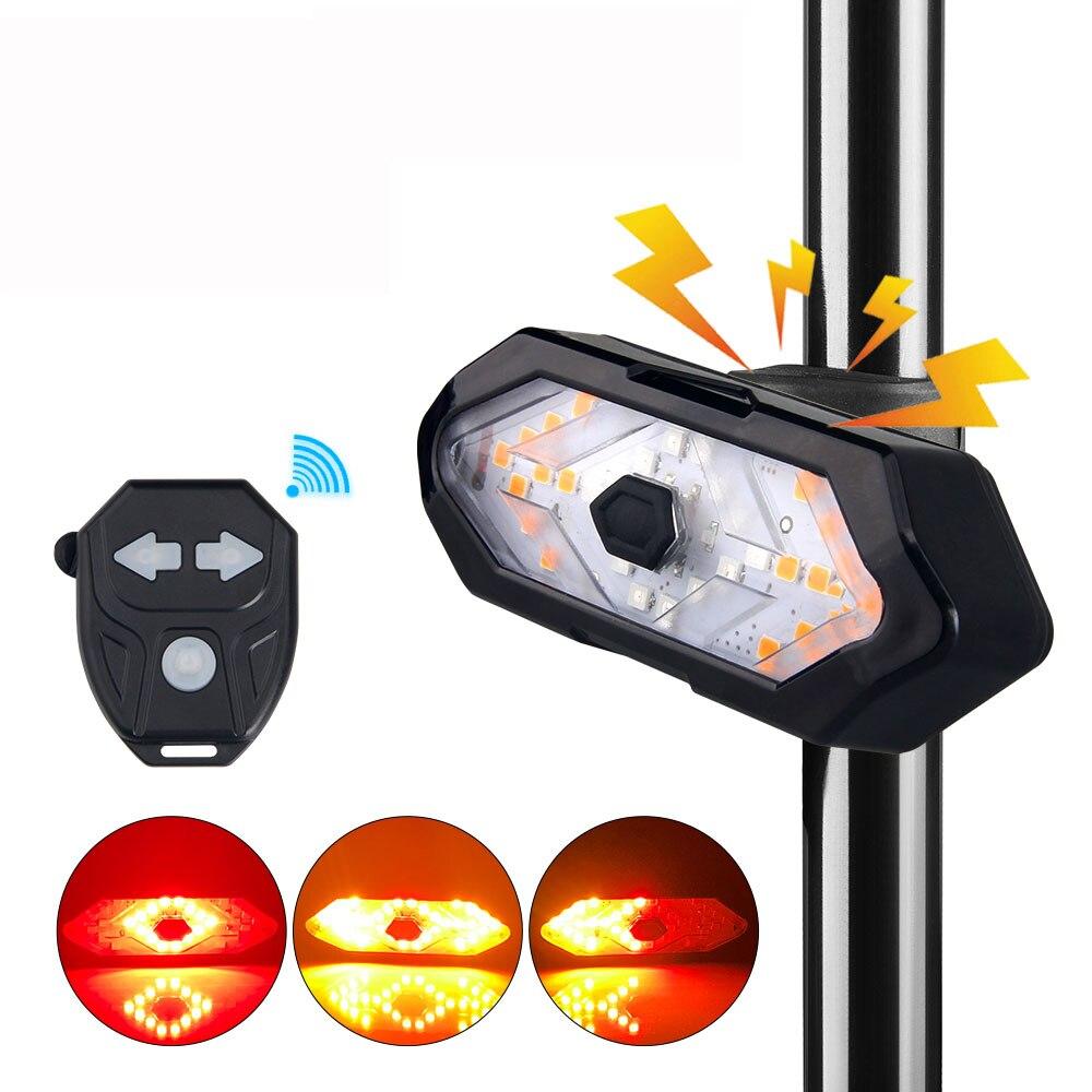 Умный беспроводной Велосипедный задний фонарь с дистанционным управлением, сигнальная лампа, зарядка по USB, поворотный сигнал, задсветильн...