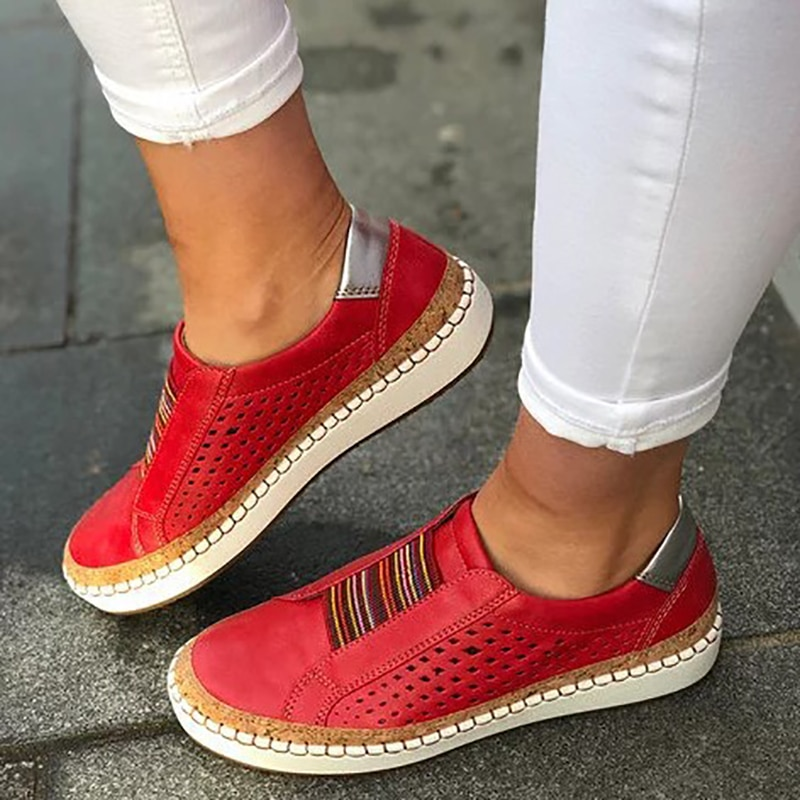 2021 Women's Sneakers On Pumps Vulcanized Shoes Breathable Hollow Casual Ladies Shoes Woman Plus Size