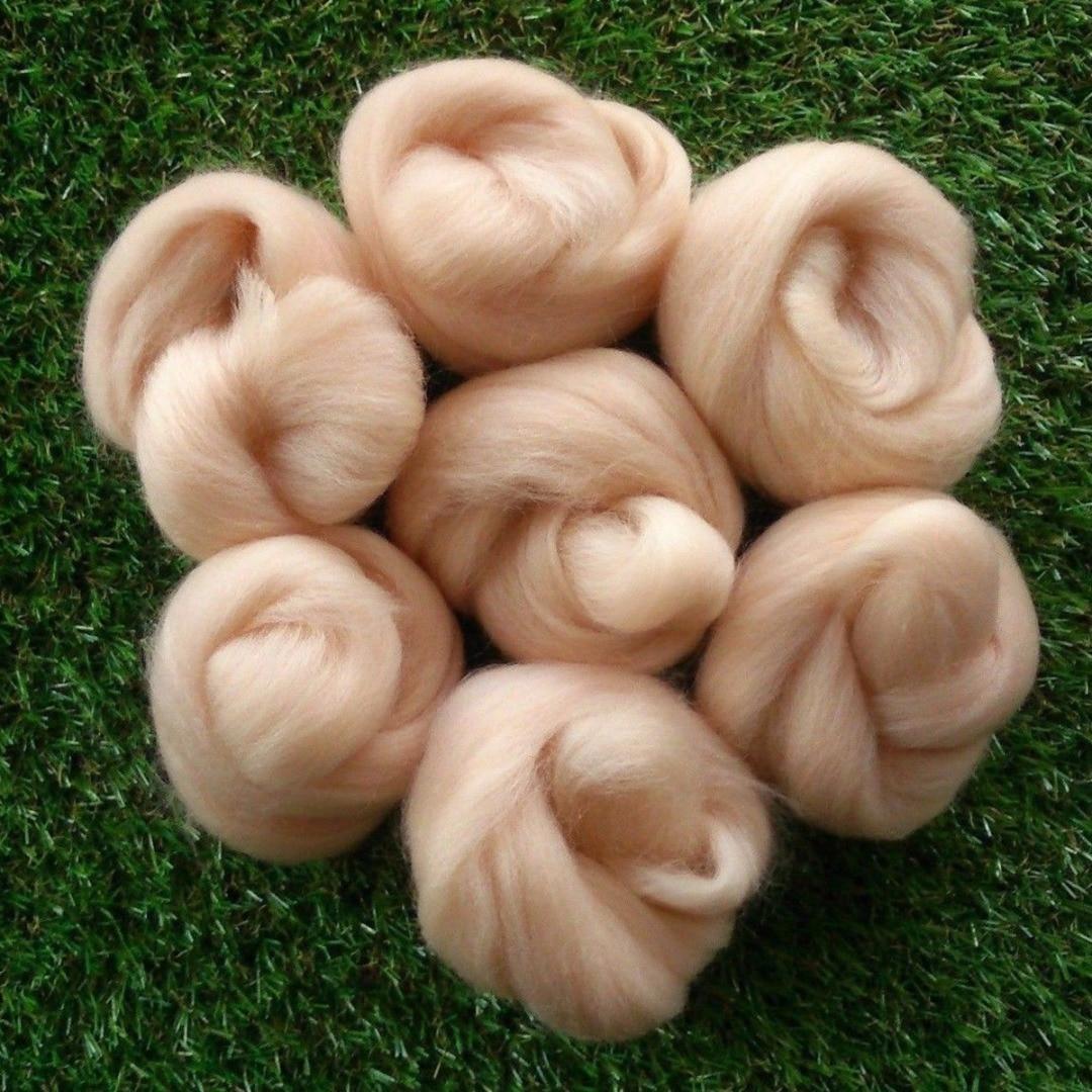 Nova 45g agulha felting cor-de-rosa pele de carne tons felting lã roving para projetos 3d fibra de lã