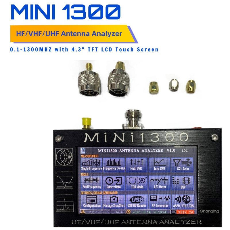 Mini1300 4.3 بوصة LCD تعمل باللمس 0.1-1300MHz HF/VHF/UHF ANT SWR هوائي محلل متر فاحص