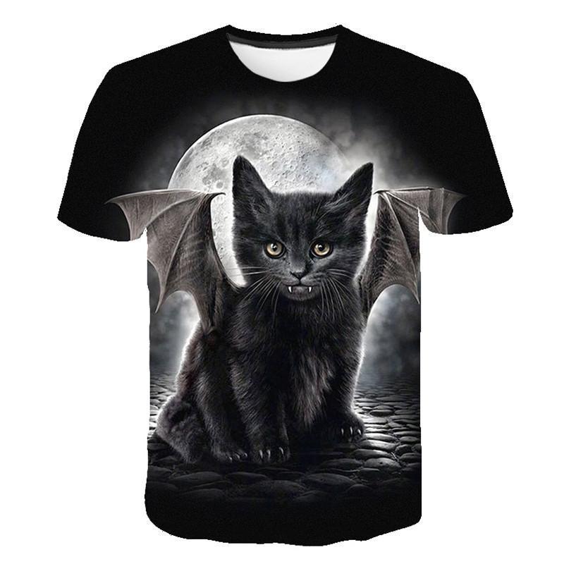 New black cat wings T-shirt, Harajuku cartoon funny print casual beautiful fashion T-shirt, summer short-sleeved T-shirt