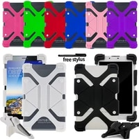 universal shockproof soft silicone stand cover case for lenovo tab2tab3tab4 10 tablet four corner protection casefree stylus