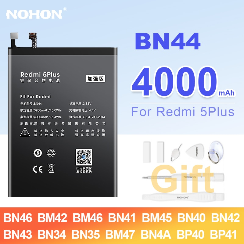 NOHON BN44 BM47 BM46 BN43 BN46 BN40 BN41 BM45 batería para Redmi...