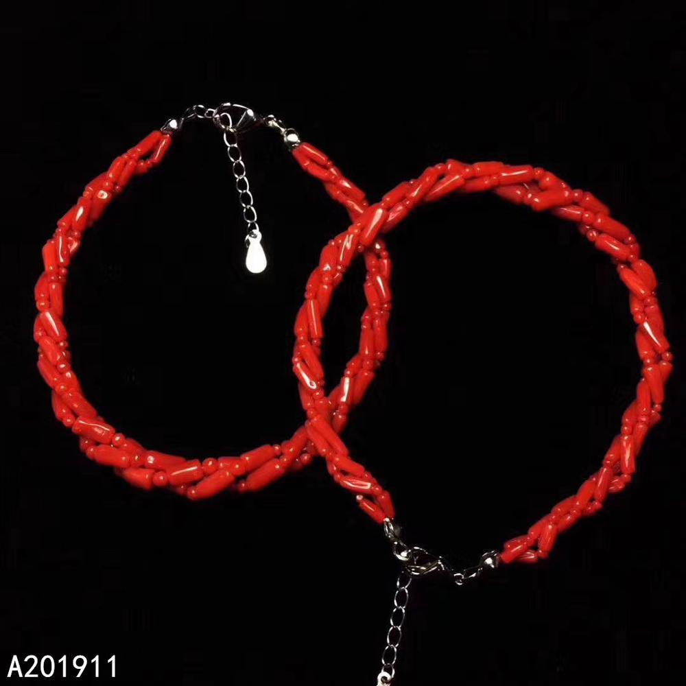 Kjjeaxcmy boutique jóias 925 prata esterlina incrustada coral vermelho natural pulseira feminina na moda apoio detecção popular