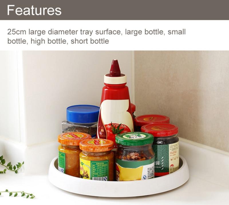 360 Rotation Non-Skid Speisekammer Schrank Faul Plattenspieler mit Breite Basis Lagerung Bin Rotierenden Organizer für Küche Gewürz