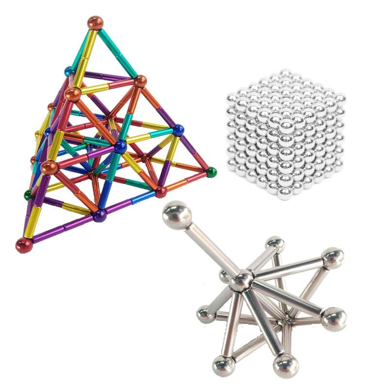 Blocos de construção magnéticos buckballs ímã varas barra bola conjunto cérebro formação quebra-cabeças mágicos 3d diy stress liberação dedo brinquedos