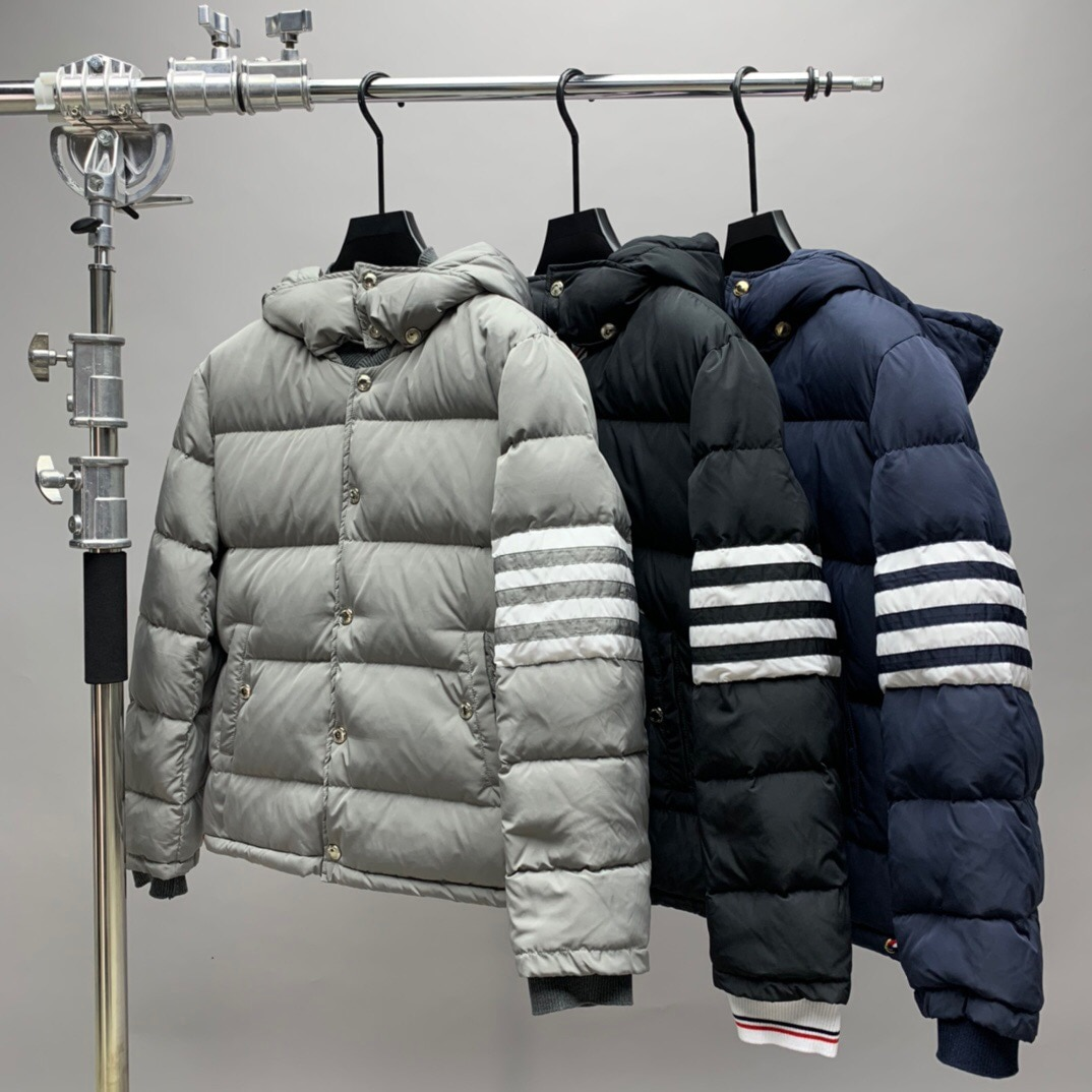 2021 Fashion Brand Men Down Coats Slim Fit Hooded Short Down Jacket Striped Solid Thick Casual Autumn Winter Clothing
