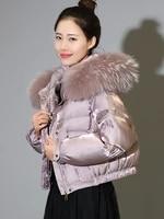 korea fashion womens duck down short coat with a large raccoon fur collar hooded ladies trend jackets shiny black pink xxl 2xl
