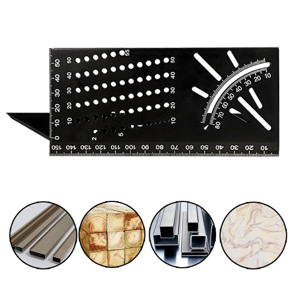 Regla de medición de ángulo de Mitra 3D de aleación de aluminio regla de ángulo de carpintería cuadrada de 45 90 grados herramienta de indicador de marcado multifuncional