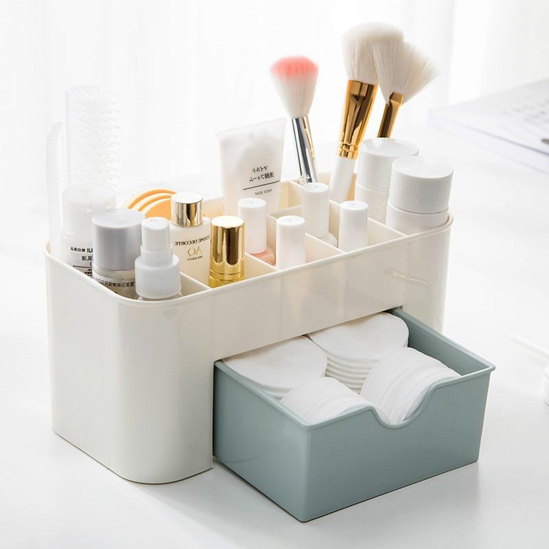 Plastic Makeup Organizer MakeUp Brush Storage Box with Drawer Cotton Swab Stick Storage Case Escritori organizador de maquillaje