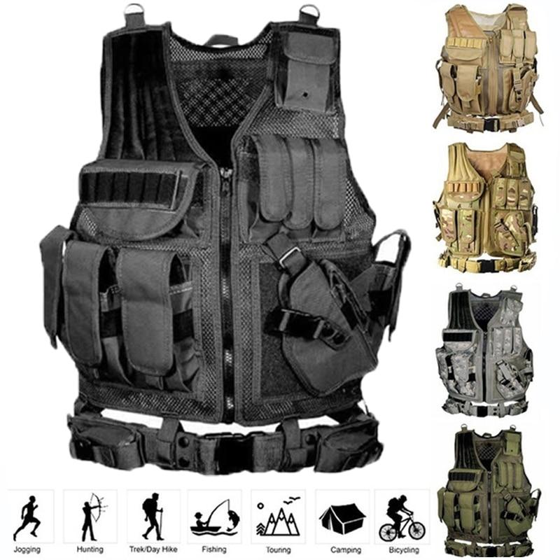 Защитный тактический жилет, тактический жилет с несколькими карманами, армейский военный жилет, жилет для охоты, жилет для пейнтбола, боево...
