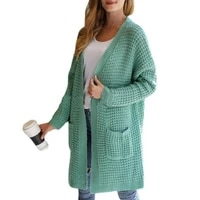 knee length skin friendly long sleeves women knitted cardigan for dating