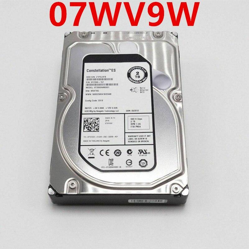 قرص صلب أصلي جديد 98% لأجهزة Dell EQ 2 تيرا بايت 3.5 بوصة SAS 64MB 7200RPM للقرص الصلب الداخلي للخادم HDD لـ 07WV9W ST2000NM0001