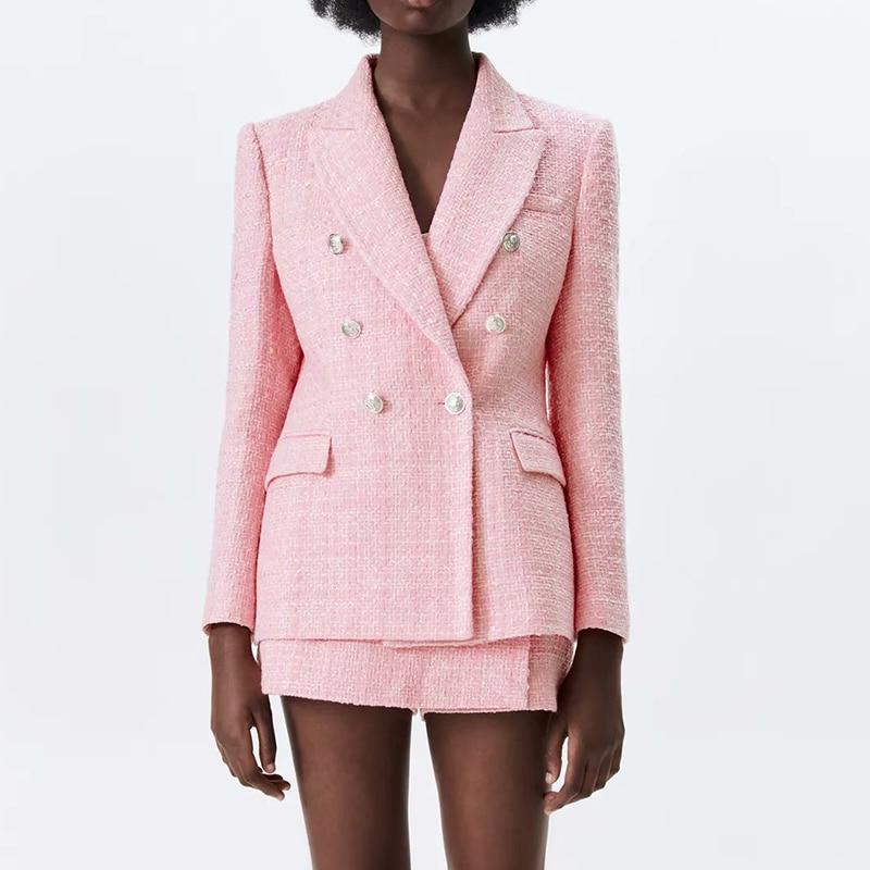 Za Women's Set Pink Plaid Texture Tweed Blazer Coat and Shorts 2021 Fashion Ladies 2 Piece Set CD8093