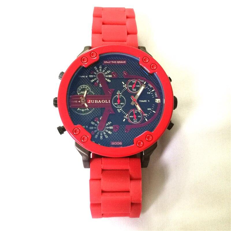 Relojes de negocios con doble horario para hombre, cronógrafo deportivo de cuarzo con tira de acero rojo, estilo Dz 7370 Relogio Masculino