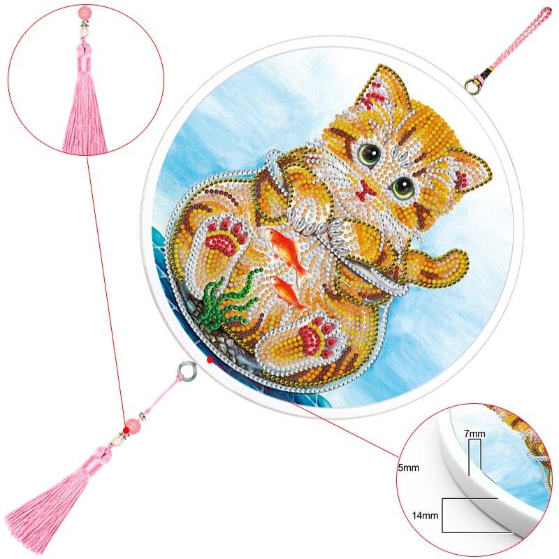 Diseño de gato, Mural con borlas, colgante, pintura de diamantes con marco redondo, bordado de diamantes, arte DIY, decoración de la pared del hogar