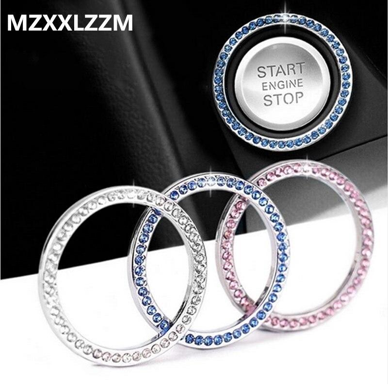 Anneau décoratif universel de voiture   Bouton de démarrage automatique, autocollant dintérieur pour voiture, accessoires autocollants interrupteur, anneau en strass en diamant
