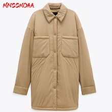 Autumn Winter Ultra Light Warm Cotton Jacket Coat Women Fashion Khaki Long Outwear Female Oversize S